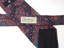 TURNBULL & ASSER Burgundy Blue Paisley Silk Tie Vintage Jermyn Street London UK