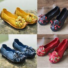 Women Retro Flower Leather Mid Heel Original Soft Shoes Handmade Sandals