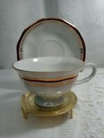 Vintage Favolina collectible Cup and Saucer set  Gold Trim Made in Poland