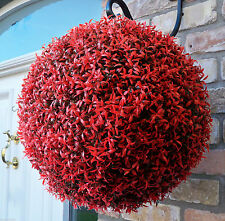 Best Artificial 40cm Red Rosemary Long Leaf Hanging Topiary Flower Ball Basket