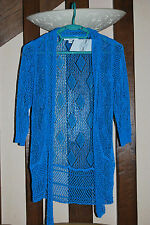Giorgio Barbara Boléro/ Gilet maille crochet bleu turquoise T. S/M (36/38/40)
