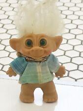 Original Vintage Unmasked Pre 1965 Troll Doll WhiteHair, Light Army Green Eyes