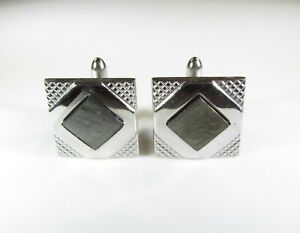 Silver Tone Cufflinks Square with Abalone by Swank
