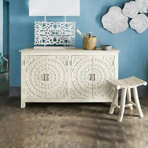 Made to Order Floral Hand Carved Solid wood Sideboard White L