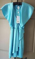 Halston Heritage NWT 100% Silk Ruffle Cocktail Acqua Blue Summer Dress Size 0