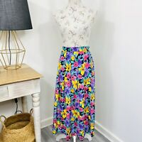 Vintage Sportscraft Womens Maxi Skirt Pleated Bright Colourful Size 16
