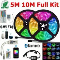 5/10/20M 5050 RGB LED Strip Lights 60LEDs/M WiFi Bluetooth Remote Controller 12V