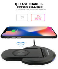 Dual Coil Qi Wireless Quick Charger Stand Dock/Pad for Samsung Galaxy S7 S8 S9+