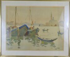 HOURREGUE JEAN (1925-1983) Vue de Venise aquarelle sur papier Signé