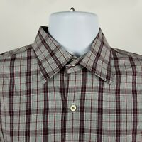 Peter Millar Mens Gray Burgundy Red Check Plaid Dress Button Shirt Sz Medium