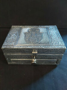 HAMSA EMBOSSED ALUMINIUM INDIAN JEWELLERY BOX  WITH A DRAWER & LINED IN VELVET