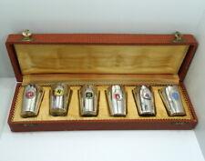 6 Vintage REU GERMAN STATES CITY CREST 800 Silver SHOT GLASSES Set