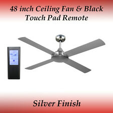 Fias Revolve 48 Inch Ceiling Fan in Brushed Chrome with Black Touch Pad Remote