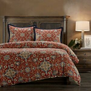 Melinda Washed Linen Southwestern Country Farmhouse Queen 3-Piece Comforter Set