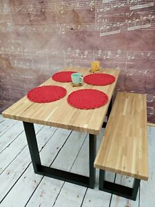 Wooden Oak Table Oak Bench Kitchen Dining Room Office Solid 100% Wood Handmade
