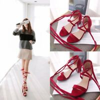 Women's Open Toe Chunky High Heels Cross Strap Sandals Causal Pump Suede Shoes