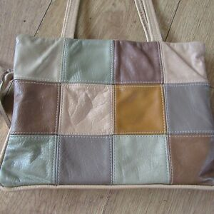 """Vintage Leather Patchwork Bag - Cream, Brown & Green -  11 x 8"""" with 9"""" Handles"""