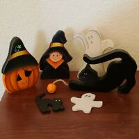 Halloween Black Cat Ghost Pumpkin Handmade Painted Wood Holiday Decor VTG Lot