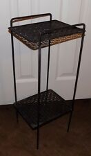 Vintage Atomic Mid Century Telephone Stand Side Table Rack Metal Wire MCM Vtg