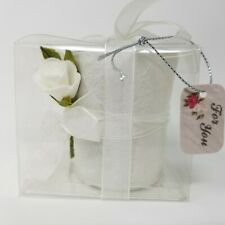 Bridal White Tea Light Candle Holder 2 Roses w/ Ribbon Wedding Anniversary Nwt