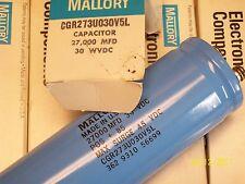 *NEW* MALLORY ELECTROLYTIC CAPACITOR 27,000 MFD , 30 WVDC , CGR273U030V5L