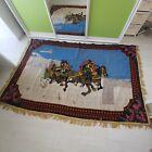 Rug, horses + sleigh, painting, vintage rug, embroidery, handmade, rarity, sovie