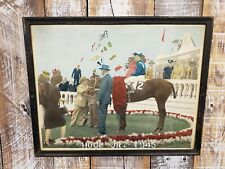 Original 1945 Kentucky Derby Colorized Photo Framed Hoop Jr. Winner Circle KY