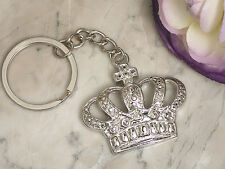 50 Silver Chrome Royal Crown Fairytale Keychain Bridal Wedding Favors