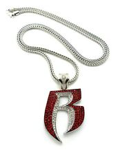 """NEW ICED OUT RR PENDANT & 36"""" 4mm FRANCO CHAIN....."""