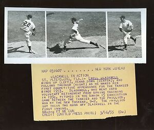 Original March 16 1955 Ewell Blackwell New York Yankees Wind Up Wire Photo