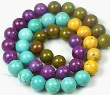 """10mm Multicolor Turquoise Round Beads 16"""""""
