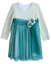 New Girls Boutique Isobella & Chloe sz 4 Ivory Teal Dress Holiday Birthday Party