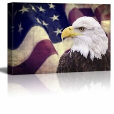 Canvas Prints- Bald Eagle with the American Flag  Patriotic Theme- 24