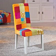 2 Chaises de cuisine salle à manger design en bois massif et tissu multicolore