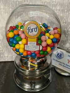 1 CENT GUMBALL MACHINE - Vintage, Ford Gum w/ Glass Globe, Topper, & Decal