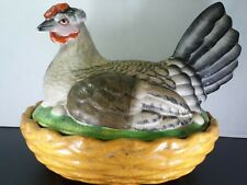 Antique 19th Century Large Staffordshire Dudson Pottery Hen On Nest Circa 1840