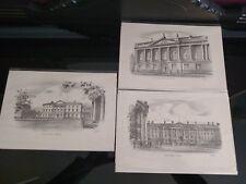 3 Pencil Sketches of Dublin Historical Building by UK artist JUDGES JUDGES of UK