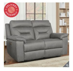Kuka Justin Grey Fabric Power Reclining 2 Seater Sofa