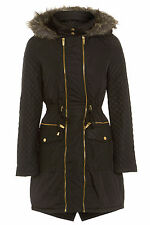 NEW WOMENS BLACK WINTER FISHTAIL GOLD ZIP QUILTED FUR HOODED PARKA COAT SIZE8-16