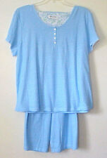 NWT KAREN NEUBURGER BLUE STRIPED 2 PC SLEEP PAJAMA BERMUDA SHORTS SET $60 3X 3XL