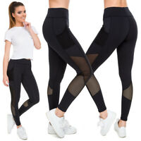 Womens Sports Solid Leggings with Pocket and Mesh High Waisted Activewear FS6003