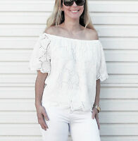 NEW WOMENS EMBROIDERED TOP OFF THE SHOULDER WHITE TOP SIZE 8-10-12-14-16