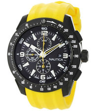Nautica Men's Chronograph, Black Face - Yellow Resin Strap: N18599G
