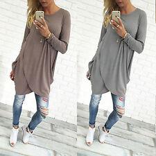 Damen Tunika Bluse Longshirt Asymmetrisch Langarm Lose Freizeit Tops Tee Shirt