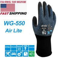 5pairs Car Repair Nitrile Coated Polyester Wear-Resistant Work Gloves