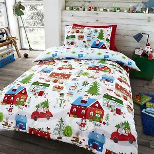 HLC Boys Girls Village Christmas Animals Santa White Reversible Duvet Cover Set