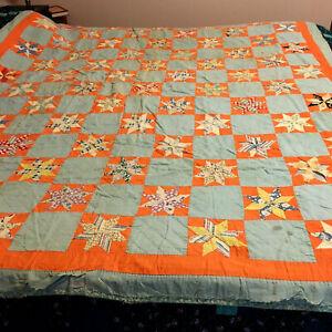"""Vintage Antique Orange Green Star Quilt 69"""" By 80"""""""