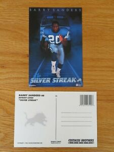 1990 Costacos Brothers BARRY SANDERS Silver Streak Poster Postcard DETROIT LIONS