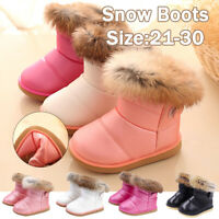 New Kids Girl Winter Warm Shoes Fur-lined Slip On Mid Calf Snow Boots Waterproof