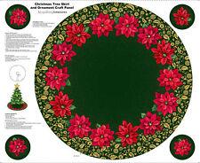  Christmas Quilting Treasures Poinsettia Grandeur Green Tree Skirt Panel Fabric'